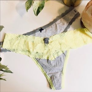 NEW AERIE Bundle Set Two Thong Grey Printed Undies